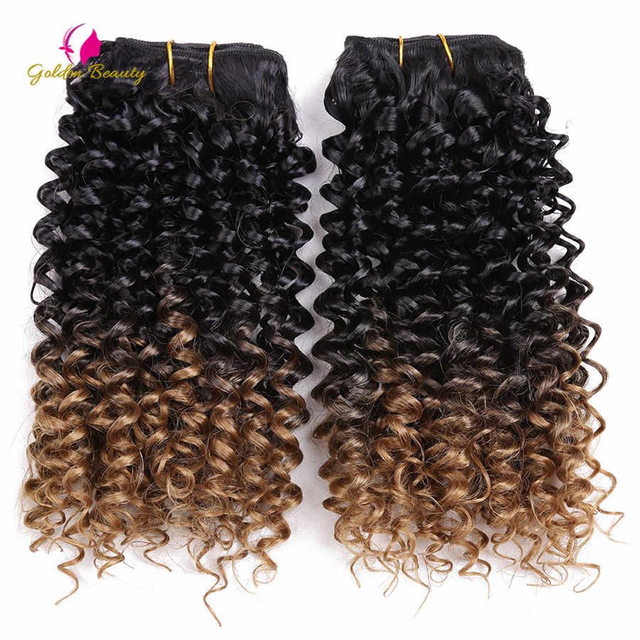 זהב יופי 1 יח'\אריזה 14 אינץ ג 'רי מתולתל לתפור במארג סינטטי שיער Wefts לתפור בתוספות שיער Ombre עבור נשים