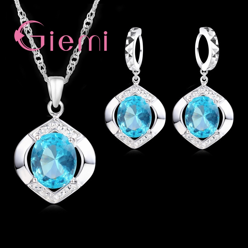 Vintage 925 Sterling Silver Jewelry Sets Blue CZ Crystal Geometic Pendant Necklace Huggie Earrings
