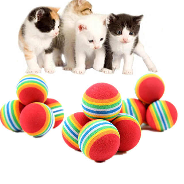 1/5/10Pcs Rainbow Ball Cat Toy Colorful Ball Interactive Pet Kitten Scratch Natural Foam EVA Ball Training Pet Supplies Product