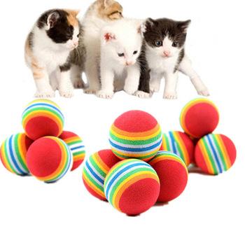 1 5 10 sztuk Rainbow Ball zabawka dla kota kolorowa piłka interaktywny kociak Scratch Natural Foam EVA Ball szkolenia artykuły dla zwierząt produkt tanie i dobre opinie Piłki cats Cat Dog Red Blue 35mm