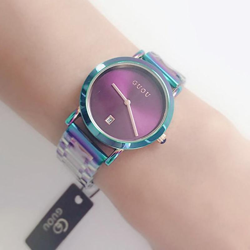 2018 las mujeres del reloj de GUOU moda colorido acero Ladies relojes de lujo exquisito regalo de las mujeres relojes reloj mujer relogio feminino