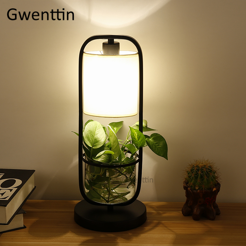 Moderne plante Pot bricolage lampes de Table nordique verre Led Stand luminaires de bureau pour chambre chevet lampe debout intérieur décor à la maison
