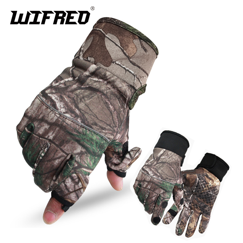 Wifreo Camoflage Fishing Gloves Hunting Gloves Anti-Slip 2 Fingers Cut Camping & Cycling Half Finger Gloves for Winter Warm 1 pair 3 half finger fishing gloves skidproof resistant half finger cycling fishing anti slip tool for fishing tackle boxes hot