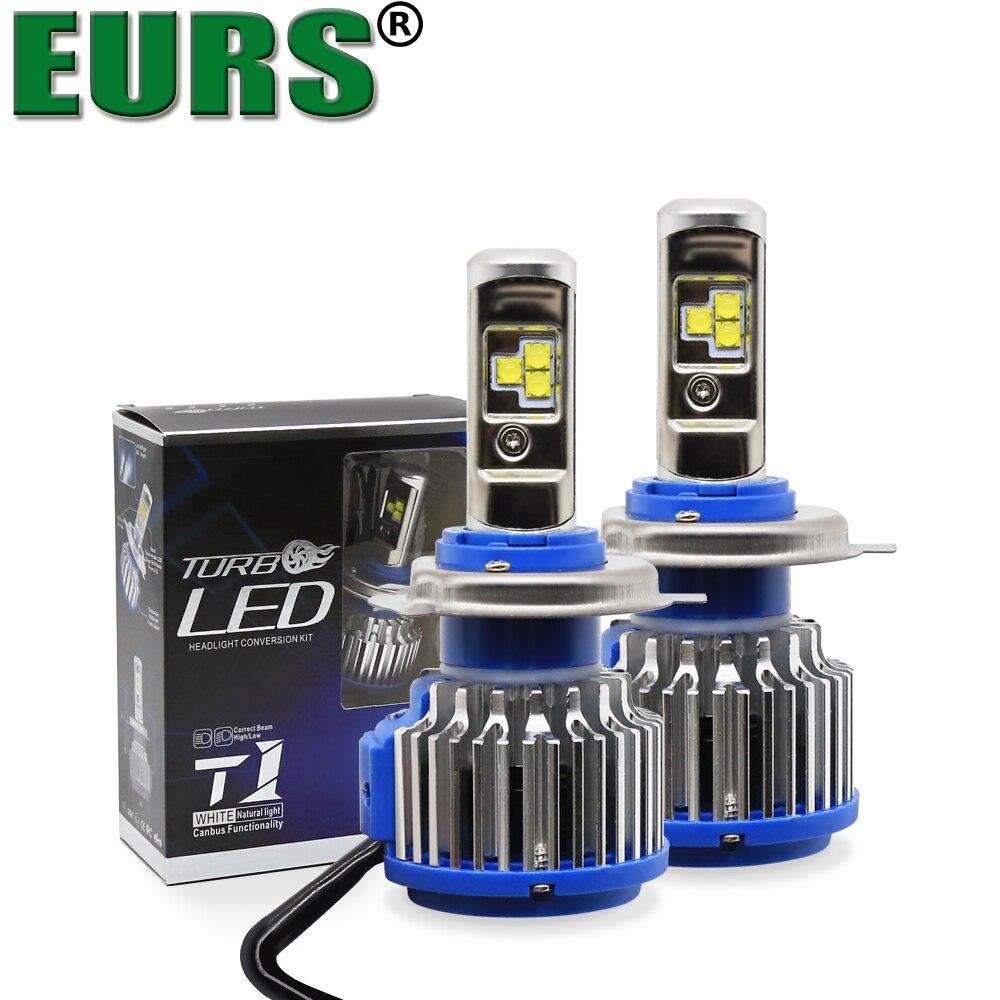 EURS(TM) 2PCS Top Quality T1 H4 Scoket T1 Turbo Led Car Headlight H1 H3 H7 H8 H9 H11 9005 360 Degree 12V 72W Fog Lights 6000K
