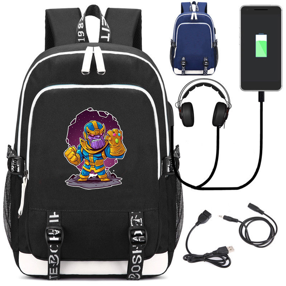 Marvel Avengers Antihero Thanos Backpack Notebook Backpack Multifunction USB Charging Backpack Laptop Bag Student School Bag