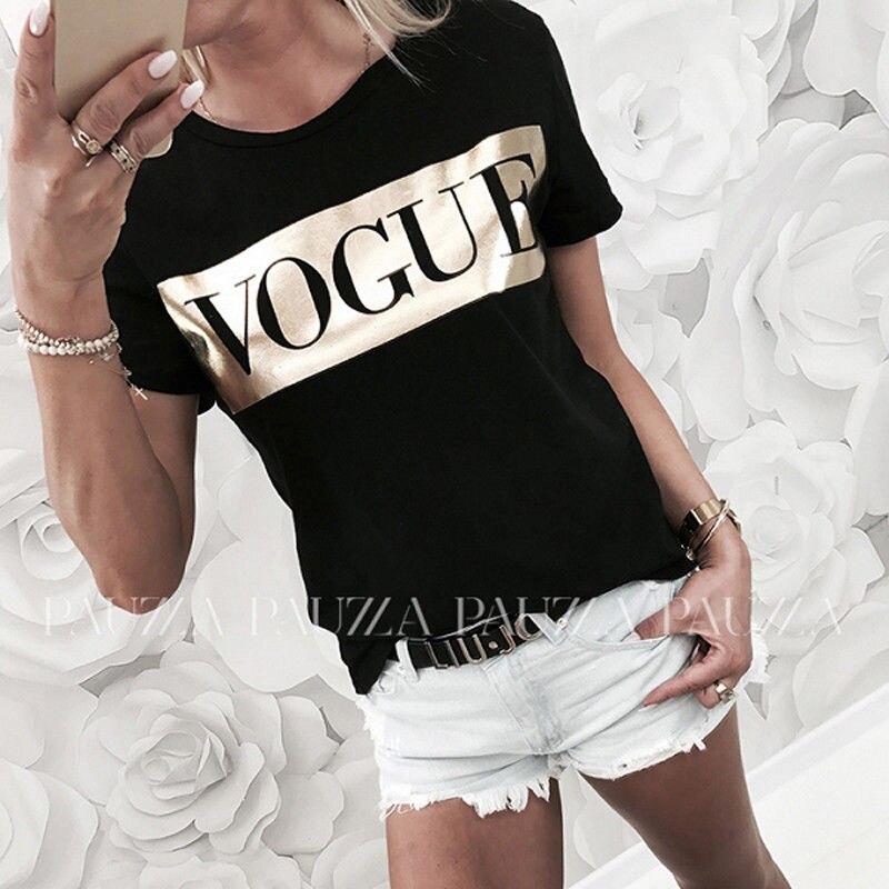 Delle donne Casual Manica Corta Magliette e camicette di Estate Vogue Slogan Stampato Tee shirt femme fashion harajuku tumblr Camicetta blusa feminina