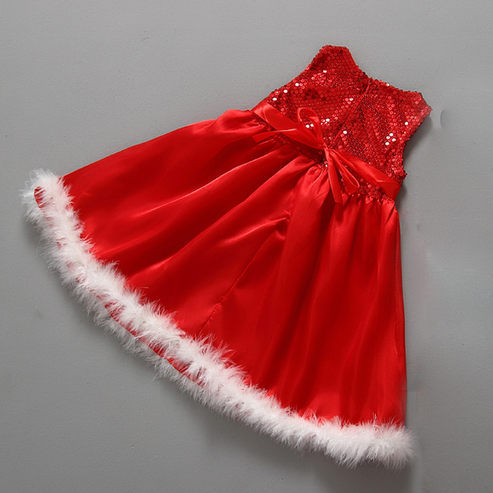 Robe Noel 3 Ans Baby Girls Kids dress Christmas Party Red Paillette Tutu Dresses