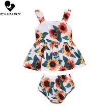 Chivry 2Pcs Newborn Baby Girls Summer Sleeveless Floral Print A-ling Dress with Shorts Infant Sundress Clothing Set