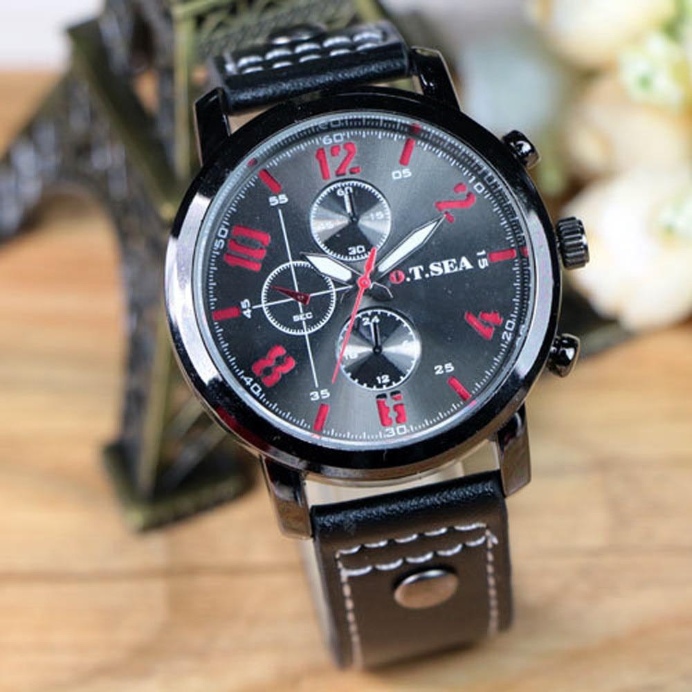 2019 Men's Sports Quartz Watches Mens Watches Luxury Leather Wristwatches Man Fashion Brand Clock Reloj Hombre Relogio Male S7