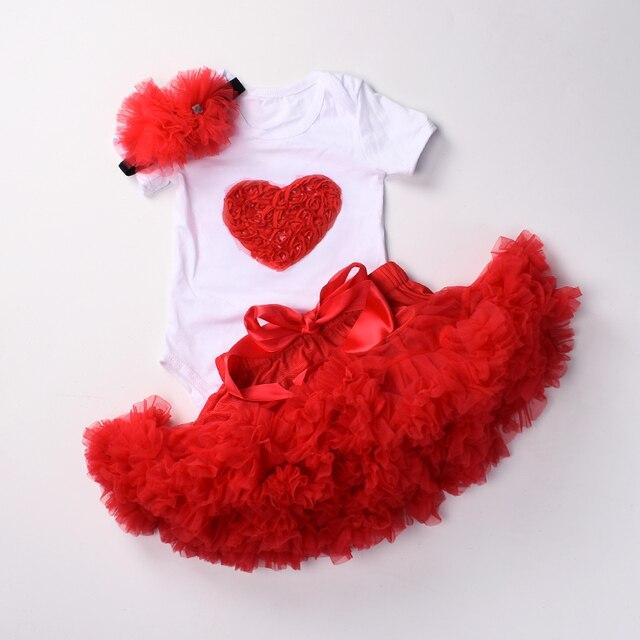 Del bambino delle ragazze 1st compleanno vestiti set 3 pcs Infantili primi Di Compleanno abiti Tuta top tutu pettiskirt set con la fascia