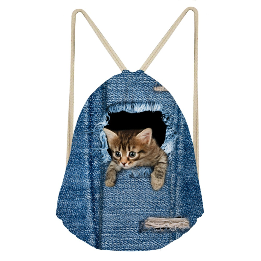 THIKIN Jeans Pocket Cat Dog Classic Fashion Animal Girl Backpack Bunch Pocket Girls Shoulder Bags Daily Drawstring Backpack