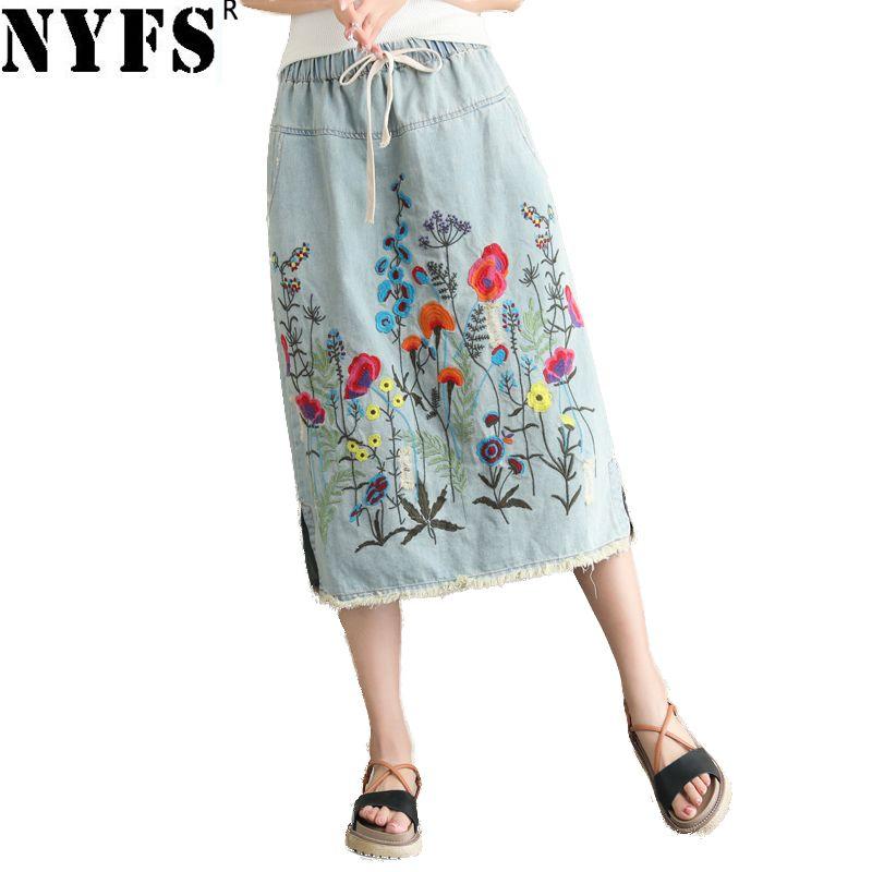 NYFS 2019 New Summer Vintage Women Long Denim Skirt Embroidered Long Skirts Vintage Jeans Hem Split Pencil Skirts