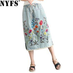Image 1 - NYFS 2020 חדש קיץ בציר נשים ארוך ג ינס חצאית רקום ארוך חצאיות בציר ג ינס מכפלת פיצול עיפרון חצאיות