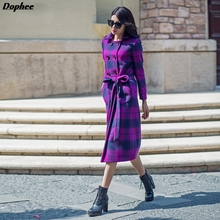 2017 New Arrival Women's Long Woolen Trench Coats Plus Size Purple Color Plaid Double Breasted Wool Jacket Coats