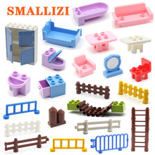 Large Building Blocks Accessory Bed Toilet Mirror Furniture Sofa Table Chair Fence Bricks Parts DIY Assembling Toys For Children(China)