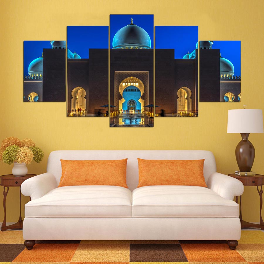 Wall Art Modular Pictures 5 Panels Sheikh Zayed Mosque Canvas ...