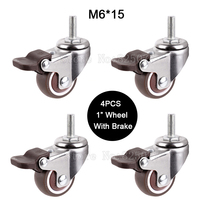 4PCS Mini 1 Mute Wheel With Brake Loading 20kg Replacement Swivel Casters Rollers Wheels With M6
