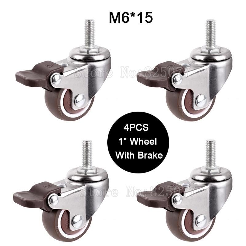 """4 pces mini 1 """"roda mudo com carga de freio 20kg substituição rodízios giratórios rodas com m6 * 15 parafuso haste jf1449-0"""