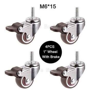 """4 pces mini 1 """"roda mudo com carga de freio 20kg substituição rodízios giratórios rodas com m6 * 15 parafuso haste jf1449"""
