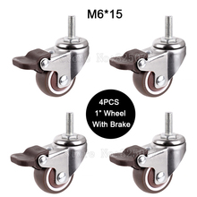 4PCS Mini 1 Mute Wheel With Brake Loading 20kg Replacement Swivel Casters Rollers Wheels M6*15 Screw Rod JF1449