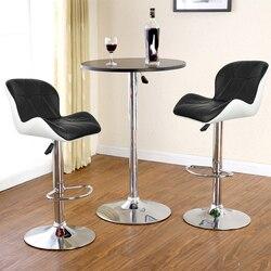 2 ピース/ペアヨーロッパ正方形背もたれバー椅子合成 PU レザー回転バースツール椅子空気圧パブ椅子 HWC