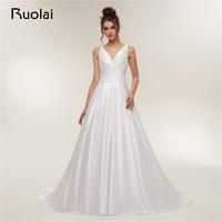 Simple Ivory/White Wedding Dresses Long V Neck Straps A Line Satin Boho Wedding Gown 2018 Bridal Dress Robe de Mariage RW12