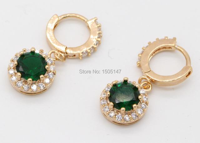 Delicadeza diseño encantador 18kt oro verde pendientes cristalinos del aro para para venta al por mayor