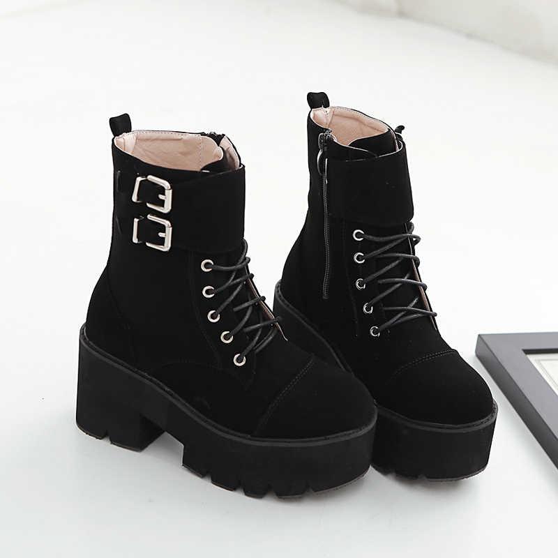 YMECHIC 2018 Akın Siyah Dantel Up Goth Çizmeler Kadın Toka Askı Çapraz Bağlı Gotik Punk Rock Ayak Bileği Motosiklet Botları Bayanlar ayakkabı