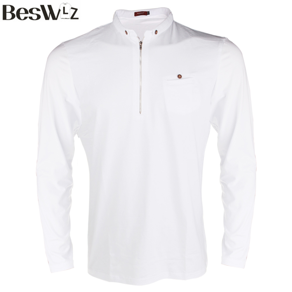 Beswlz new men 39 s tops polo shirts long sleeve cotton slim for Business casual polo shirt