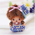 Popular Cute Inlay crystal dolls Key chains With Hat monchichi Keychain Woman Bag Charm Accessories Car Key ring portachiavi