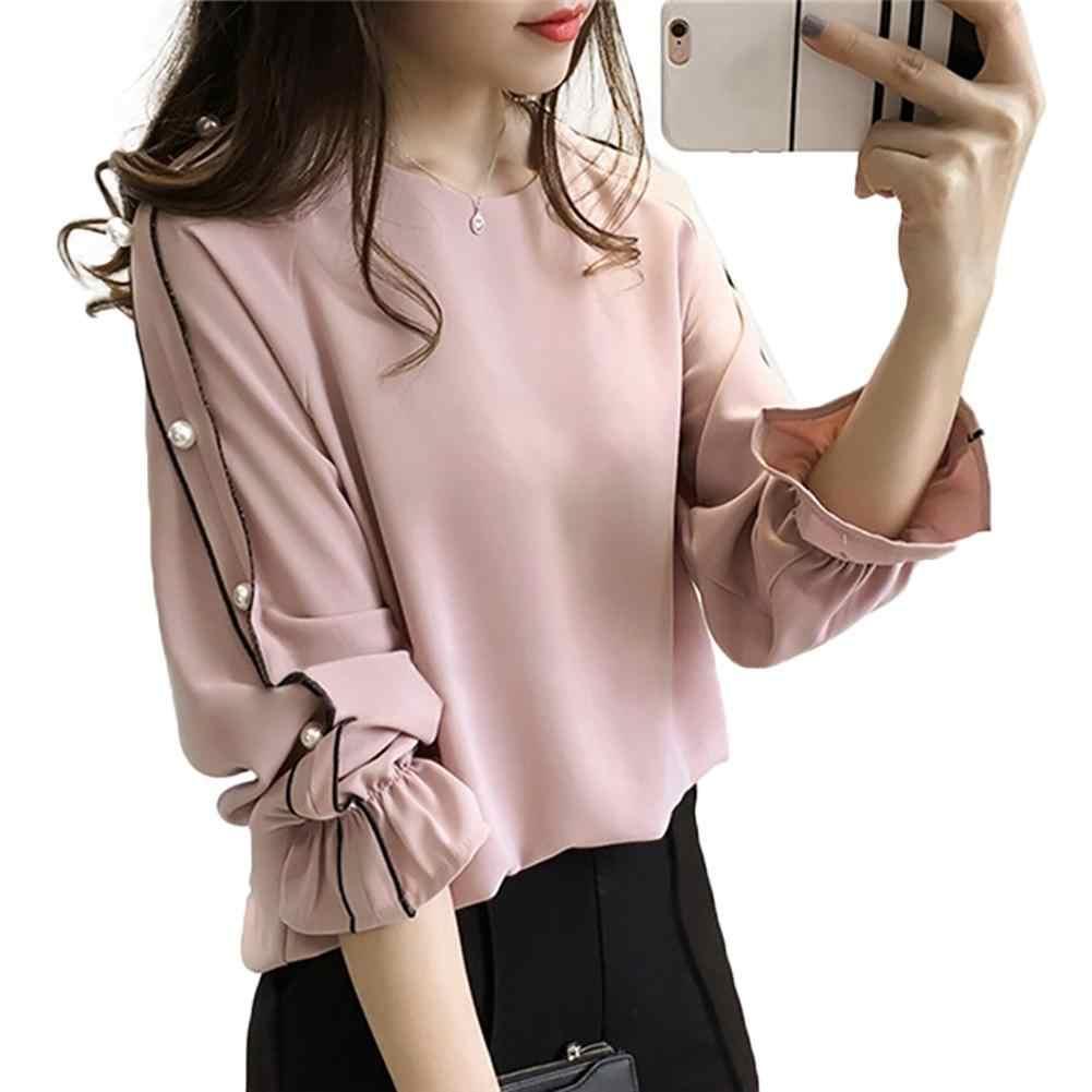 Plus Size 4XL Chiffon Shirt Women 2018 Fashion Blusa Beaded Tops Autumn  Long Sleeve O- 5e845e6e867e
