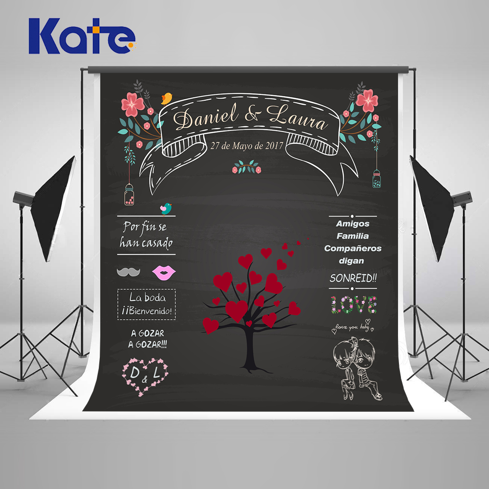 Kate Wedding Backdrops Blackboard for Photo Studio Wedding Background Photography Customise size made fotostudio photocall сумка kate spade new york wkru2816 kate spade hanna