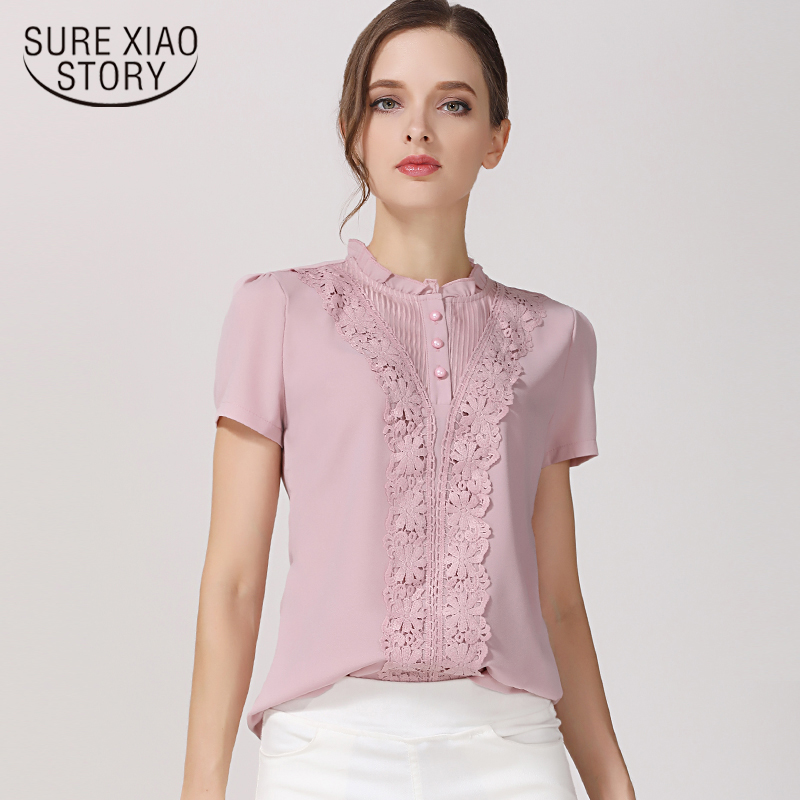 2019 summer chiffon women clothing short sleeve o neck causal women blouse shirts lace solid pink women's tops shirt 37F 30