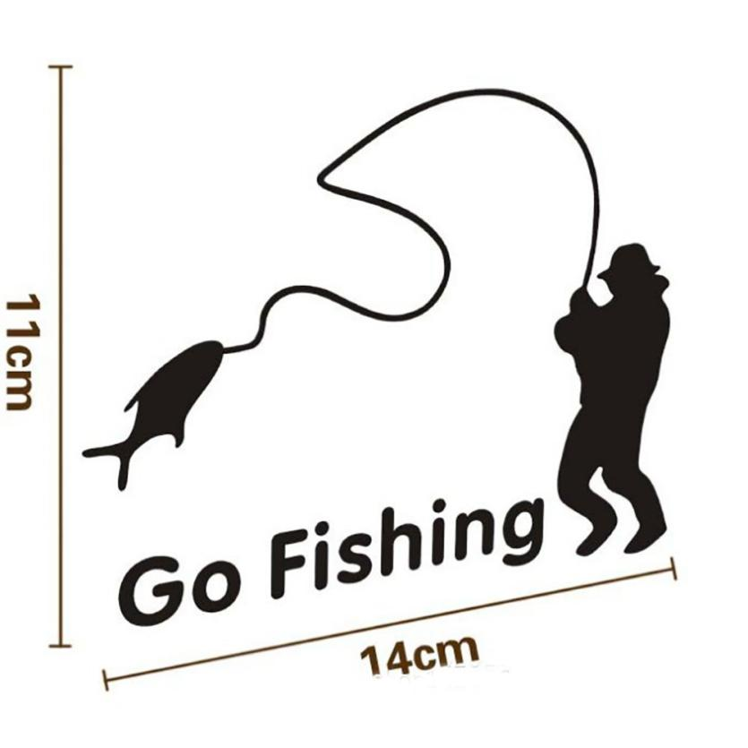 2018 Top selling Fashion 14*11cm Popular Go Fishing Vinyl Car Graphics Window Vehicle Sticker Decal Decor Auto Car Styling