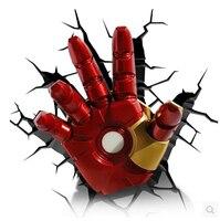 2018 Новый Лидер продаж Мечта Мастер 3D Marvel Железный человек ручной светодиодный настенный светильник DC12V