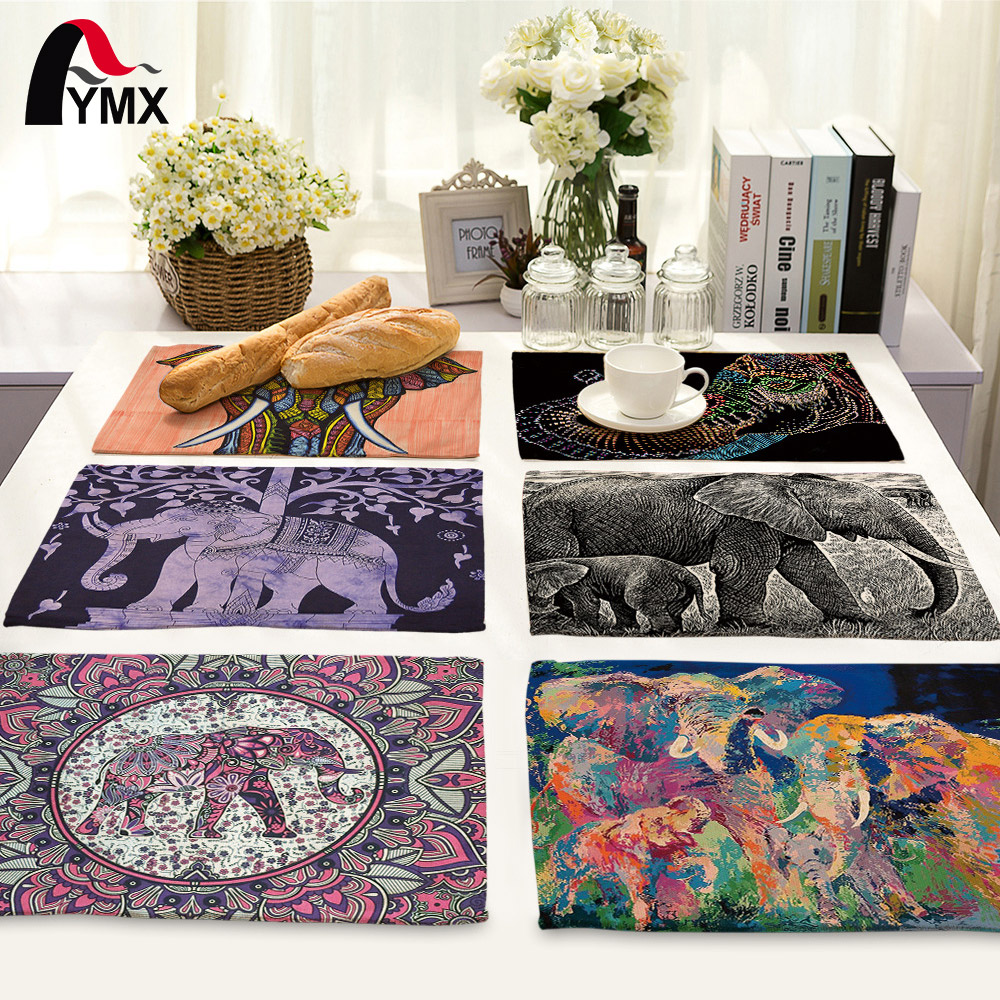 Mandala Elephant Printed Table Napkins for Wedding Party India Hippie Table Napkin Cloth Western Dinner Mat Home Textile