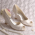 Custom Handmade D' Orsay Spring Ladies Bridal Shoes Wedding Wedge Heel Red Satin Dropship