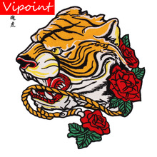 embroidery rose tiger patches for jackets,cartoon badges jeans,serpents appliques backpack,A315