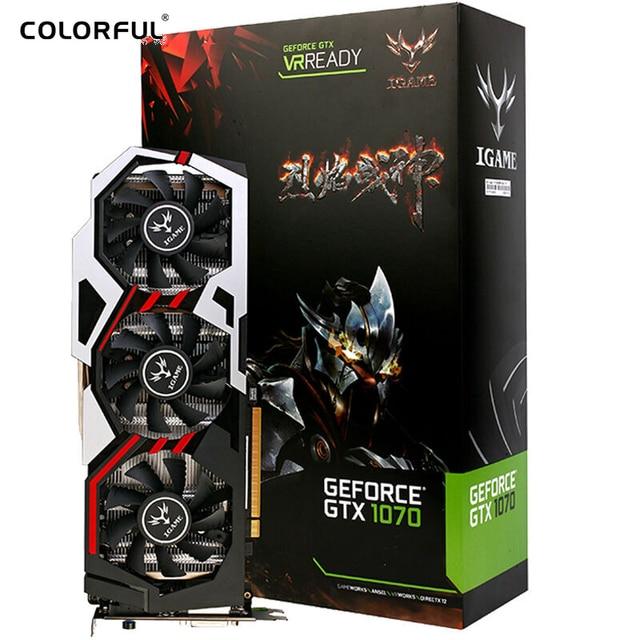 Colorido GPU igame GTX 1070 ymir U-8GD5 superior tarjeta gráfica GDDR5 pci-e X16 3.0 tarjeta gráfica DVI + HDMI + 3DP puerto para el 1070