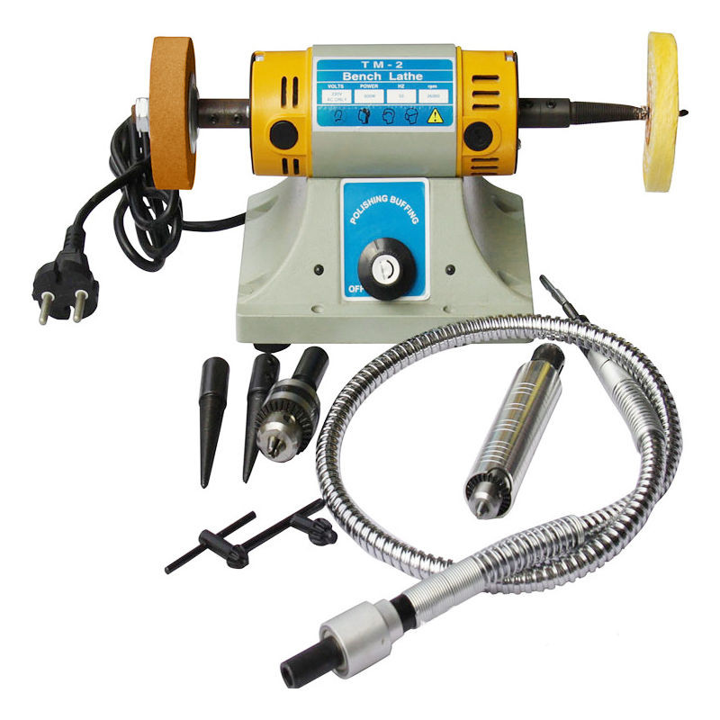 220V TM-2 Bench Lathe Polisher Jewelry jade Rock Polishing Buffer Machine 350W 1000rpm jade hanging milling machine flexible shaft machine jewelry polisher 4mm 220v