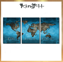 Hand painting 3 piece of map the world modern abstract canvas wall art for sitting room bedroom on