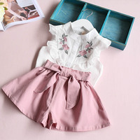 2017 Summer Korean Baby Girls Clothing Set Children Heart Shirt Bow Shorts Suit 2pcs Kids Floral