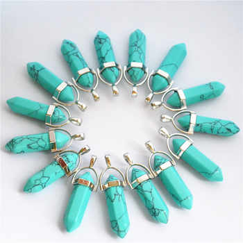 Gazelle Blue Agates Natural Stone Smoke Crystal Pillar Point Pendants & Necklaces For Making Diy Jewelry 24pcs Free Shipping
