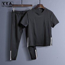 Summer Breathable Men Cotton Linen Tracksuit Casual Outside Ropa Deportiva Hombre Short Sleeve Jogging Two Piece Set Ensemble