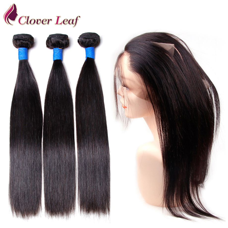 Clover Leaf Peruvian Straight Remy Hair 3 Bundles With 360 Lace Frontal Free Parting Human Hair Hair Extensions Free Shipping