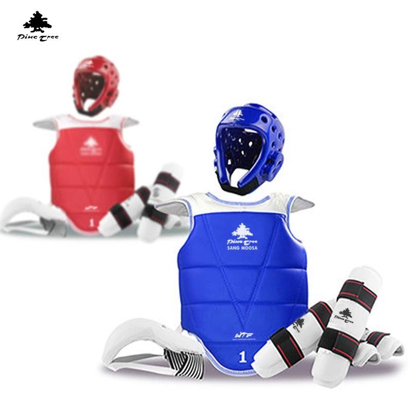 Adult Kids Child Tae kwon do Thickening WTF Taekwondo Protection 6pcs/set Chest Protector Karate Helmet Arm & Shin Guard martial arts tkd tae kwon do korea v neck adult taekwondo master uniform for poomsae
