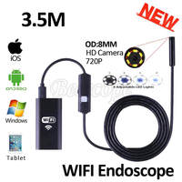 8mm Lens WIFI Endoscope Iphone Camera HD720P 3 5M Flexible Snake USB Pipe Inspection Borescope Android