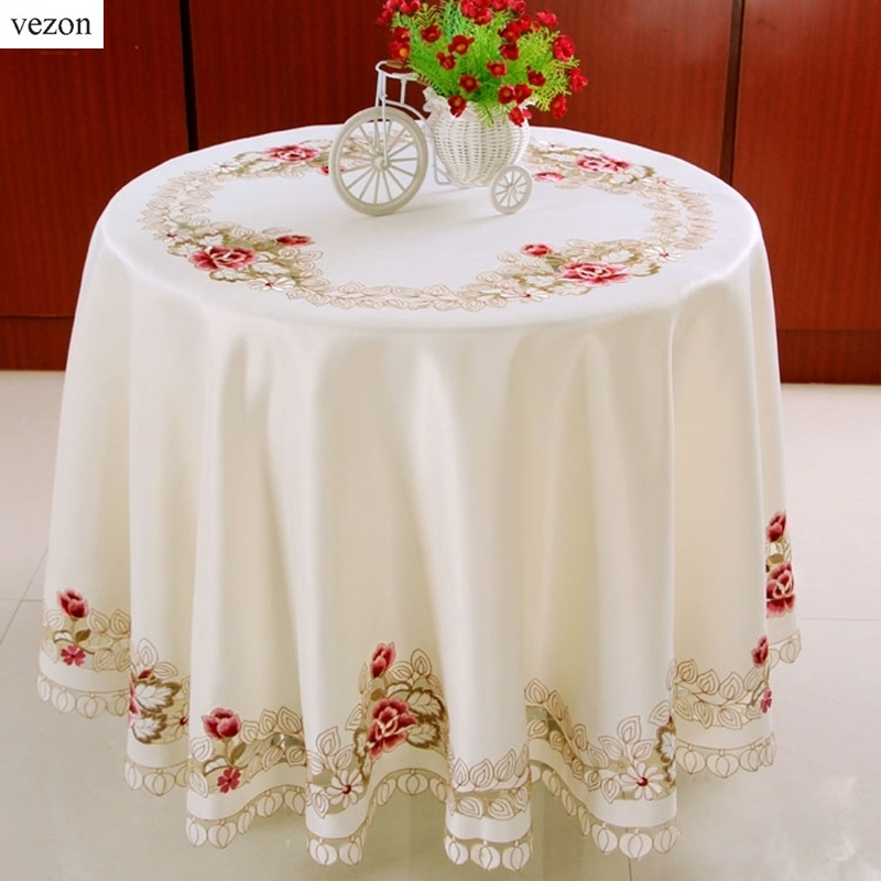 vezon elegante europa bordado floral ronda manteles de mesa de comedor cubierta de tela bordado