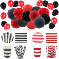 Ipalmay Red Black Halloween Party Decoration Tableware Striped Paper Plates Cups Straws Napkins Tissue Paper Pom