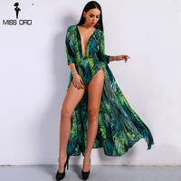 Missord 2018 Summer Maxi Beach Rompers Boho Green Deep V Playsuit Print Bohemian Long Sleeve Sexy